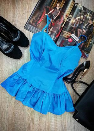 Новая голубая сексуальная корсетная блуза на тонких бретелях с рюшами l