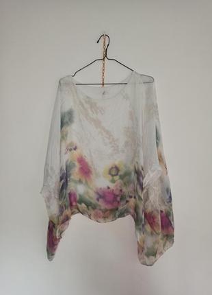 Итальянская шелковая блуза в цветочный принт полевые цветы