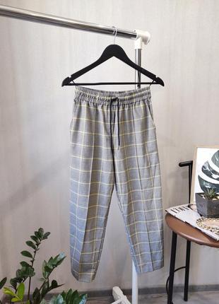 Вкорочені брюки / штани / в клітинку / з високою посадкою / на резинке / штаны / в клеточку