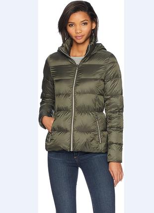 Куртка пуховик lusky brand размер xs-s пух цвет олива и светло-черный