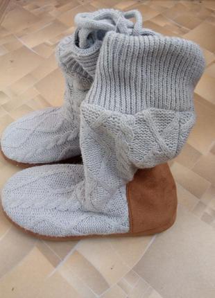 Супер теплые подростковые тапочки-сапожки с мехом