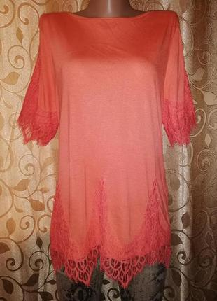 🌺🌺🌺красивая женская трикотажная футболка, блузка с кружевом george🌺🌺🌺