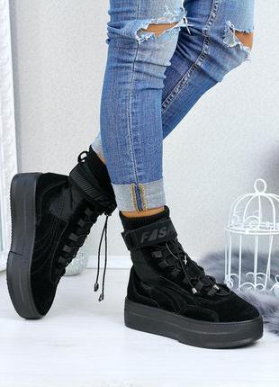 Ботинки новые женские из натуральной замши термоподкладка в наличии