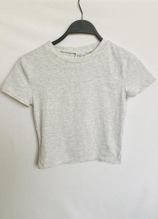 Короткая серая футболка h&m