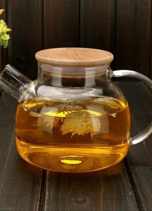 Чайник заварювальний склянний з бамбуковою кришкою. 1000 мл.