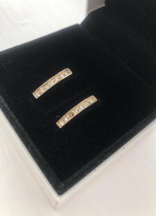 Золотистые серьги дорожка с камушками сережки женские