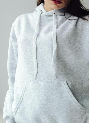 Базовая худи серого цвета толстовка с капюшоном оверсайз oversize на флисе fruit of the loom