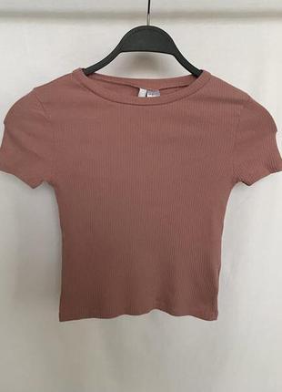 Розовая футболка h&m в рубчик