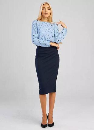 Темно синяя юбка карандаш, спідниця міді