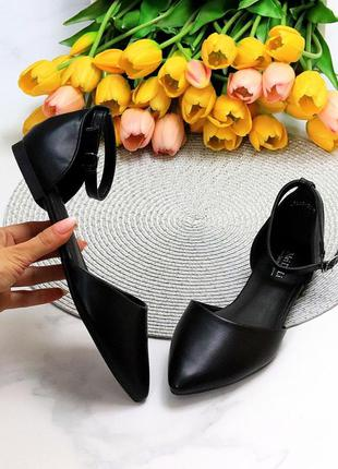 Женские чёрные открытые туфли балетки