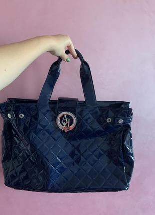 Вместительная сумка armani jeans синего цвета, экокожа