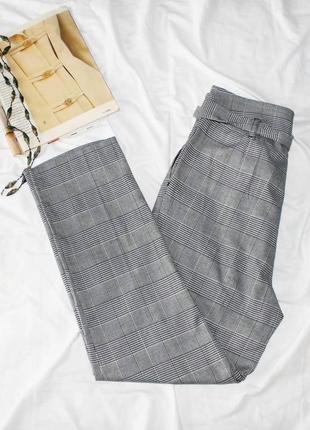 Брюки штаны в клетку со сборкой на талии new look