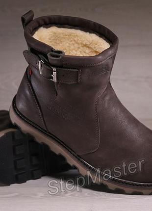 Мужские кожаные угги levis western brown