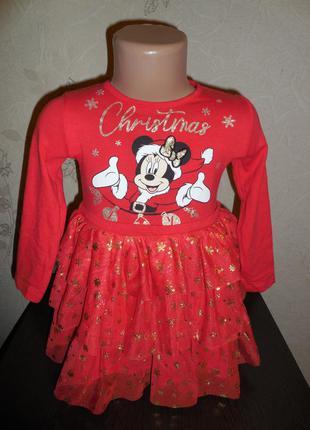 Нарядное платье на малышку  *disney* с minni, 2 года.