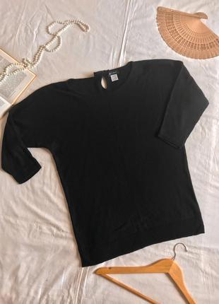 Французский чёрный джемпер из натурального хлопка и кашемира (размер 40-42)