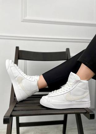 Женские кожаные белые высокие кроссовки nike blazer 77 mid🆕найк блейзер мид