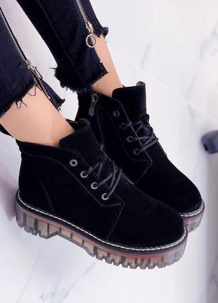 Ботинки женские новые верх из натуральной замши утепленные в наличии