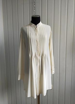Шёлковая блуза молочного цвета, 100% шёлк, m,l.