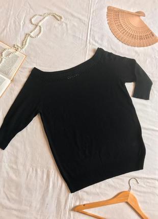 Нарядный чёрный джемпер из шерсти и акрила (размер 40-42)