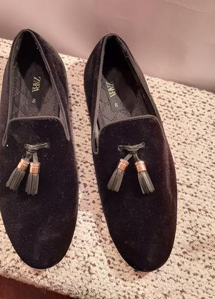 Велюровые комфортные туфли от zara