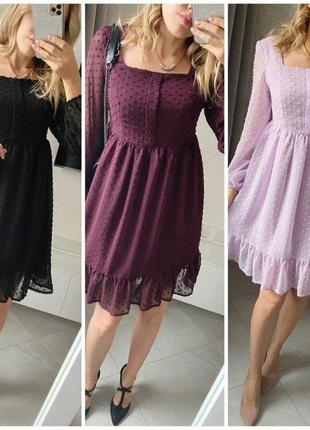 Нежное легкое нарядное платье из струящегося шифона с фактурным горошком, отрезная талия