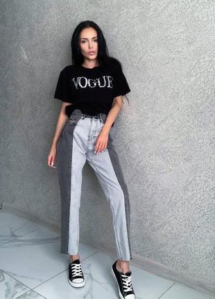Двухцветные джинсы мом