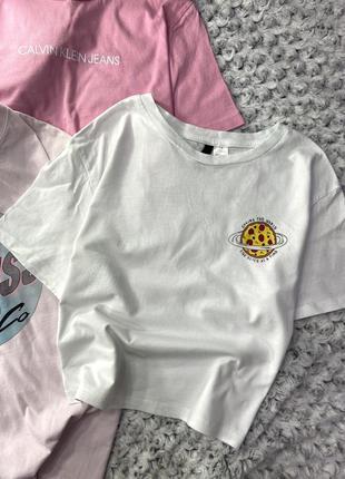 Хлопковая укороченная футболка с принтом h&m