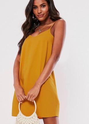 Шикарное нарядное горчичное платье в бельевом стиле
