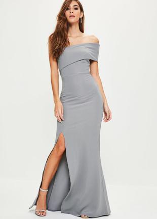 Идеальное серое макси платье