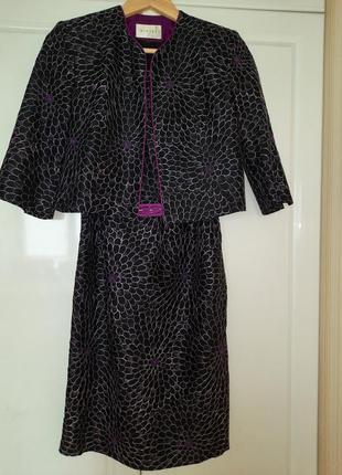 Шикарный шёлковый костюм, платье футляр, шёлк