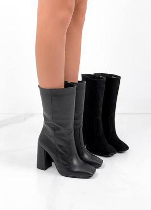 Полусапоги женские натуральная кожа и замша черные на каблуках