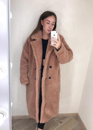 Оверсайз плюшевое пальто тедди teddy