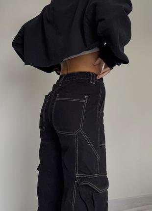 Джинсы с контрастной ниткой карго с карманами в стиле asos h&m weekday