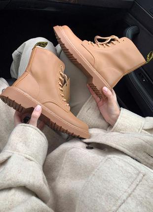 Женские стильные осенние ботинки dr.martens 1460 beige ( premium )