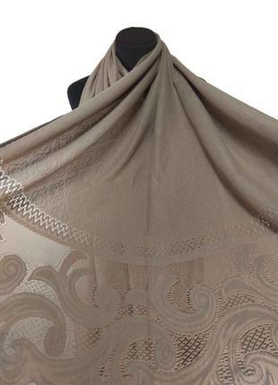Теплый кружевной шарф палантин кашемировый бежевый тауп ажурный кружево новый
