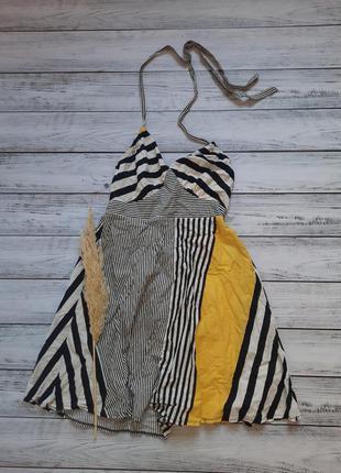 Сарафан  яркий котоновый на завязке короткое платье