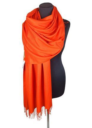 Палантин шарф кашемир оранжевый шерсть кашемировый pashmina original однотонный новый