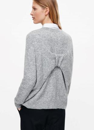 Шерстяной мохеровый свитер с бантом cos серого цвета оверсайз