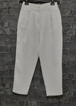 Укороченные белые брюки штаны на высокой посадке