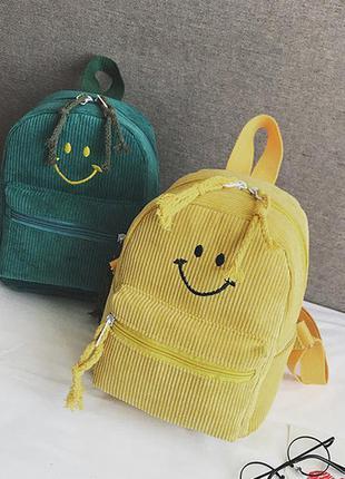 Вельветовые рюкзак с смайлом