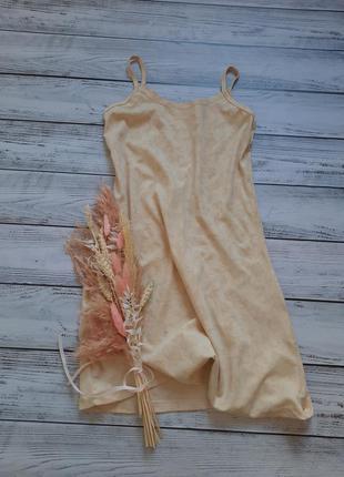 Короткое нежное платье на бретелях комбинация цветы