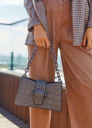 Маленькая сумка с цепью геометрия каркасная питон серый, чёрный
