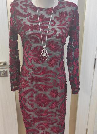 Платье вишневое платье зелёное