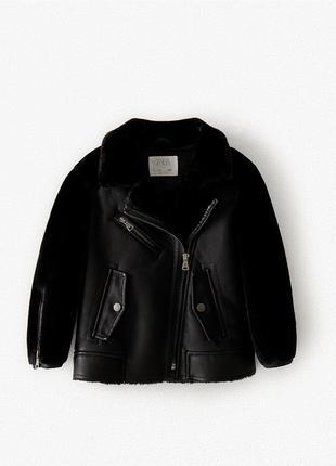 Теплая куртка дубленка в байкерском стиле zara