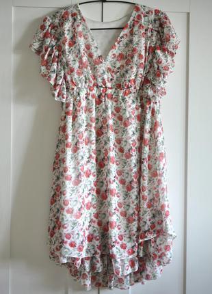 Платье цветочный принт рюши юбка солнце