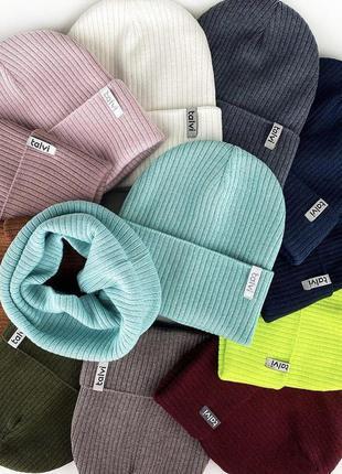 Комплект шапка хомут снуд осень 🍂 хлопковая пряжа 🧶