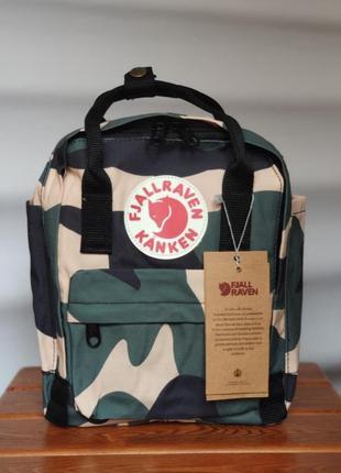 Рюкзак канкен міні, fjallraven kanken mini, мини, хакки, пятнистый, разноцветный с чорными ручками, в сад, садик, садочок, садок