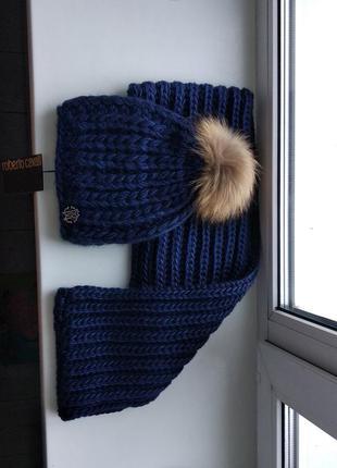 Зимний комплект объемная вязка шапка с натуральным мехом и снуд хомут