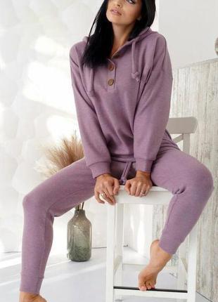 Теплый лиловый костюм из ангоры