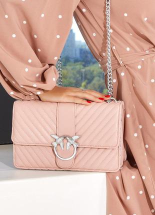 Розовая стеганая каркасная сумка через плечо кросс-боди на цепочке
